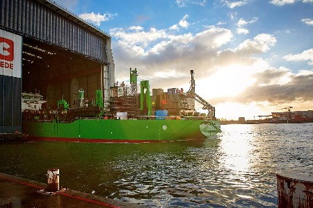 Royal IHC launches DEME's LNG-powered TSHD