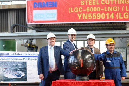 8806011b7a2 Steel cut for LNG bunker vessel for Eesti Gaas at Damen Yichang ...